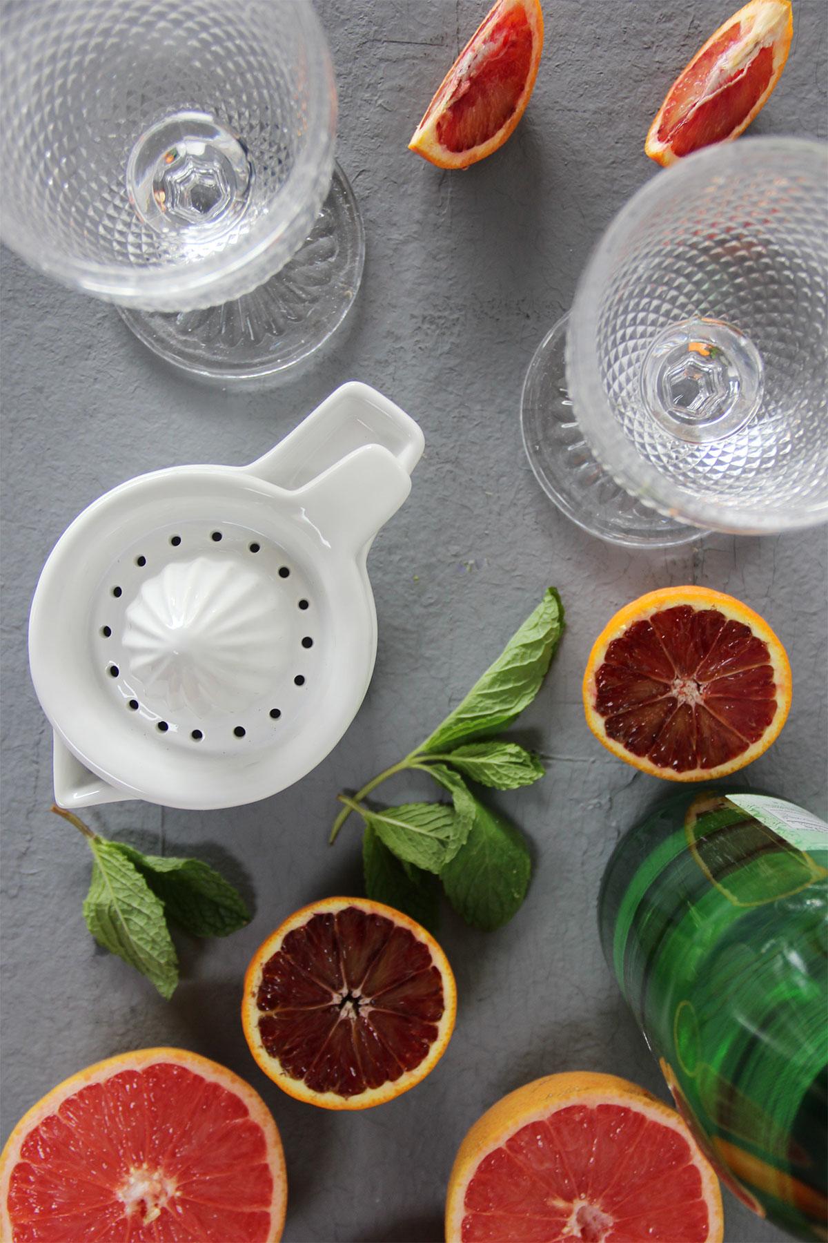 Ingredients for grapefruit blood orange sparkling juice