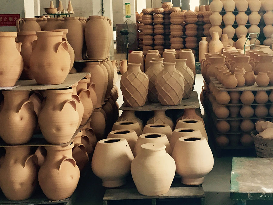 Beautiful stack of clay pots.