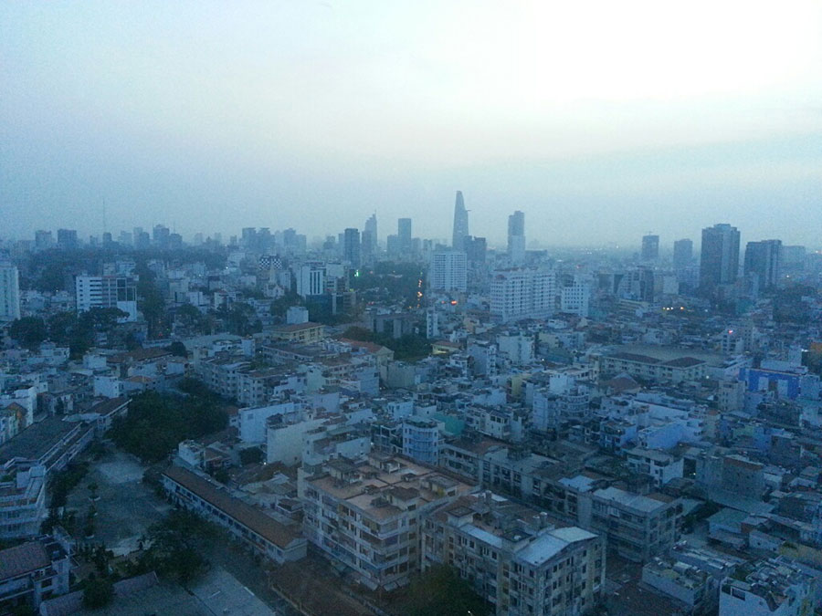 Early morning in Vietnam. The city at dawn.