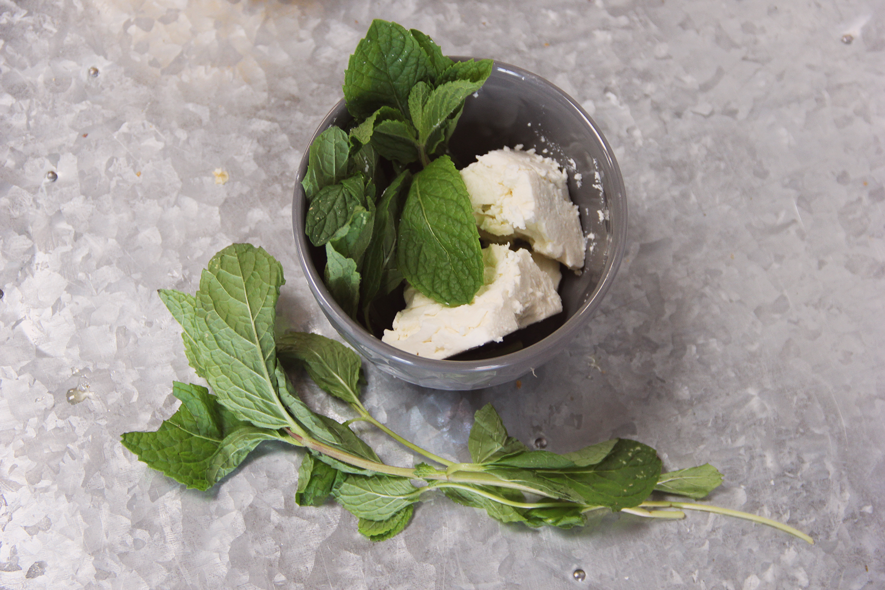 Fetta cheese and mint