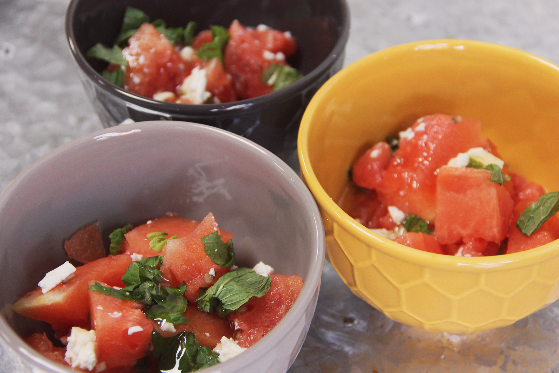 honey watermelon mint feta salad