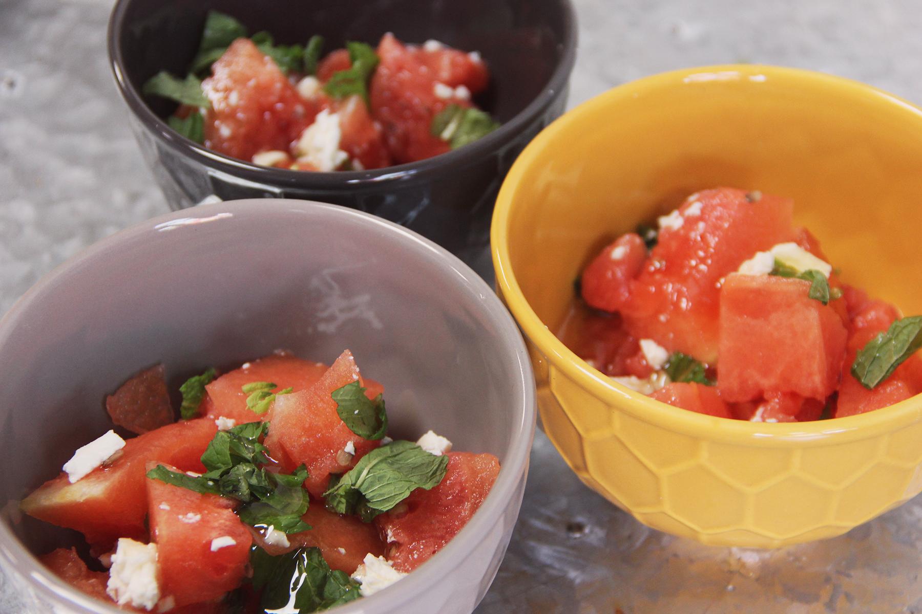 honey watermelon mint feta salad