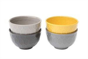 yellow and grey honeycomb bowls