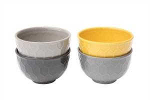 yellow and grey honeycomb bowls