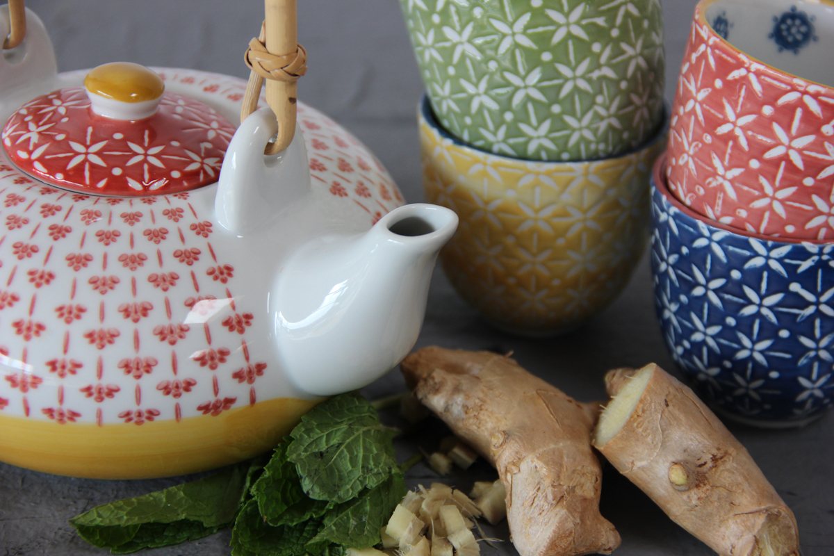 Tea cups with Ginger and Mint
