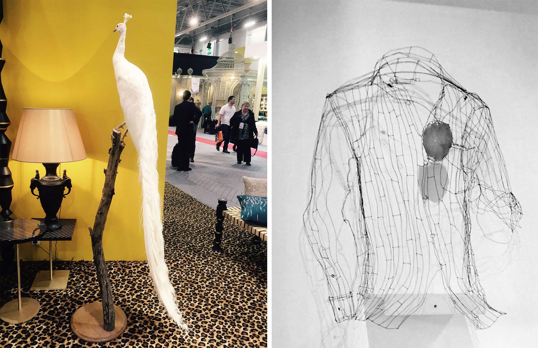 bird and shirt sculpture